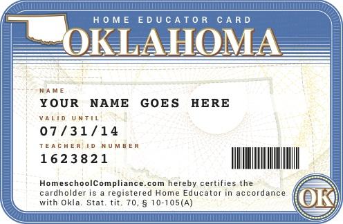 Oklahoma Home Id Card School Teacher